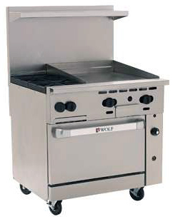 C36 Challenger XL Range with 24 inch Griddle Top and Two Burners