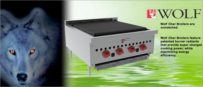 The time tested high efficiency Wolf SCB and ACB CharBroilers